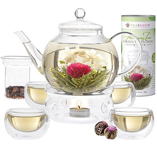 Juego completo tés flor Teabloom: tetera vidrio borosilicato