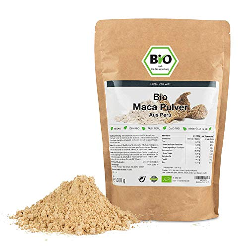 EXVital BIO-Maca-Pulver aus Peru 1 kg, abgefüllt in Deutschland, aus kontrolliert biologischem Anbau, Ohne Zusatz- und Konservierungsmittel, Vegan