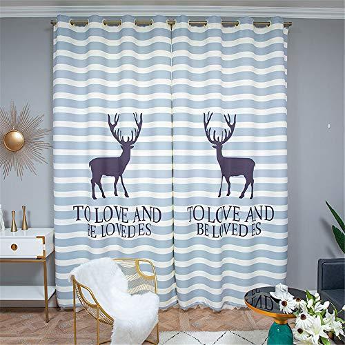 YUNSW Elk 3D Digitaldruck Vorhänge Polyester Moderne Wohnzimmer Schlafzimmer Balkon Verdunkelungs Vorhang 1 Stück