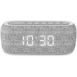 HAVIT Horloge Enceinte Bluetooth, Haut Parleur Basse Pure 10W Dual Drive, 8-12 Heures de Temps de Jeu, Radio FM et Réveil numérique, 2 Heures de Réveil (M29 Gris)