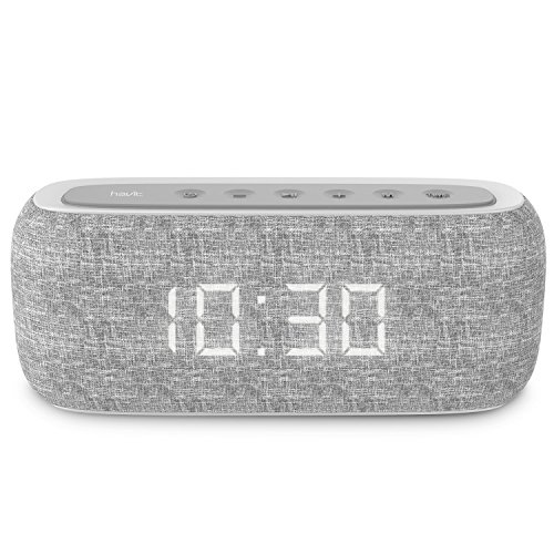 HAVIT Reloj Despertador Digital Altavoz Bluetooth portátil Bluetooth Radio FM y Reloj Despertador Digital con 2 Modos de Despertador (M29,Gris)