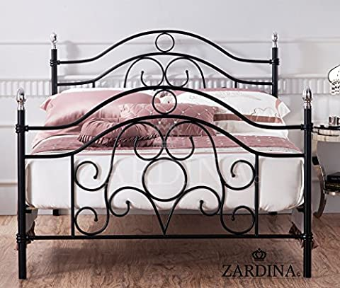 Oviedo Iron Metal Bed with Chrome Finials - 4ft6 Double in Black
