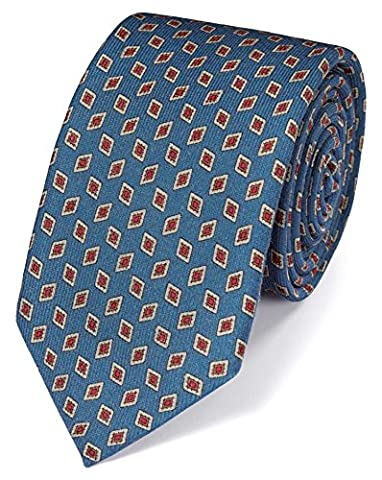 Mid Blue Silk Print Luxury Tie by Charles