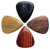 Timber Tones Lot de 4 médiators en bois pour guitare électrique