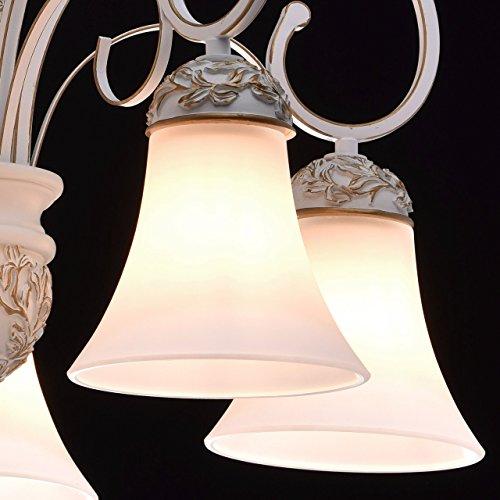 Kronleuchter weiß und gold Metall klassisch antik mattweiße Glasschirme - 6