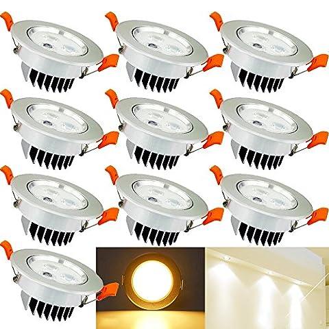 Hengda® 3W LED Einbauleuchte Wohnzimmer Decken Leuchte Lampe Spot Strahler Set 235-255LM 85-265V AC (20er pack