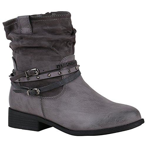 Stiefelparadies Gefütterte Damen Biker Boots Schnallen Prints Stiefeletten Schuhe 149758 Grau Nieten 38 Flandell