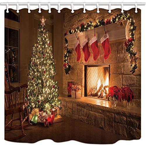 schvorhänge Kiefer Baum Kamin Schwänze Mildew Resistant Polyester Stoff Bad Vorhang Bad Duschvorhang Set mit Haken 71X71in Bad-Accessoires ()
