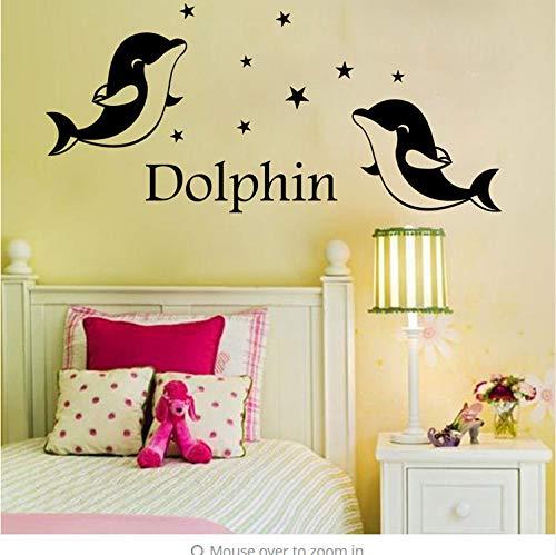 Kyzaa Custom Made Personalisierte Liebhaber Hochzeit Niedlichen Delfin Wandaufkleber Kunst Aufkleber Customized Geschenk-Sie Wählen Name Und Farbe (Farben Niedlichen Hochzeit)