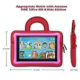 MoKo 7-8 Inch Kid Sleeve for Amazon Tablet, Portable Neoprene Case Bag Fits Fire HD 8 Kids Edition, Fire 7 Kids Edition 2019/2017, Fire HD 8, Fire 7 Tablet Kindle E-reader - Dinosaur Red