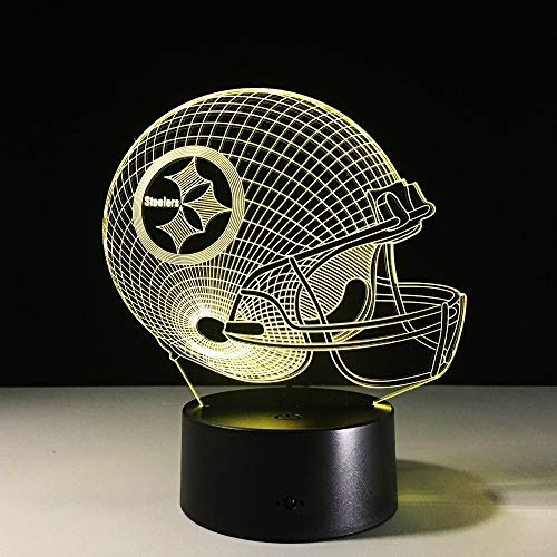 1 PACK, 7 Farben Ändern 3D LED Nachtlicht NFL Team Pittsburgh Steelers Football Helm Touch Sensor USB Tischlampe Wohnkultur Kinder Geschenk