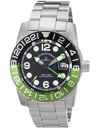 Zeno Watch Basel Quarz 6349Q-GMT-a1-8M - Reloj analógico de cuarzo para hombre, correa de acero inoxidable color plateado (agujas luminiscentes, cifras luminiscentes)
