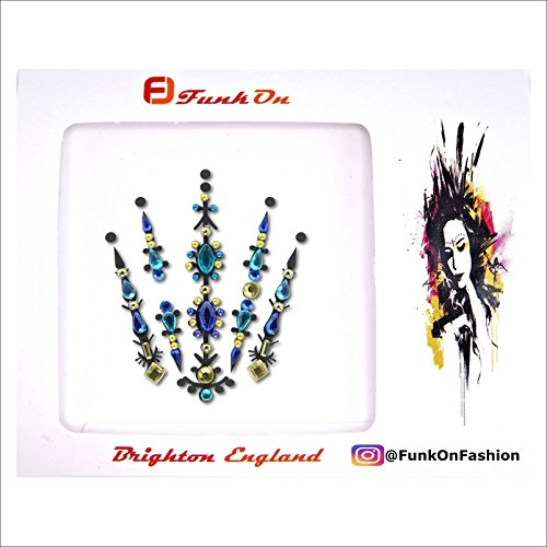 BLUE FACE GEM- FACE JEWELS FOR FESTIVALS -BODY -