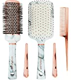 Lily England Hair Brush Set - Paddle Brush, Round Blow Drying Hairbrush, Comb