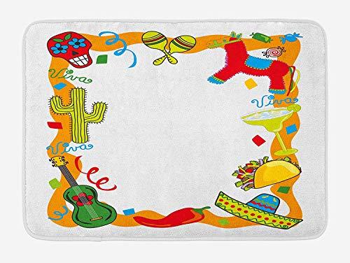 VTXWL Fiesta Bath Mat, Cartoon Drawing Style Mexican Pinata Taco Chili Pepper Sugar Skull Pattern Guitar, Plush Bathroom Decor Mat with Non Slip Backing, 23.6 W X 15.7W Inches, Multicolor