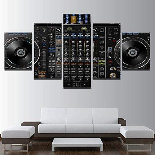Leinwand Malerei Wand Kunst Modular Frame Home Decor 5 Stück Musik DJ-Konsole Instrument Mixer Bilder HD gedruckte Poster, 40 x 60 40 x 80 40 x 100 cm, Rahmen