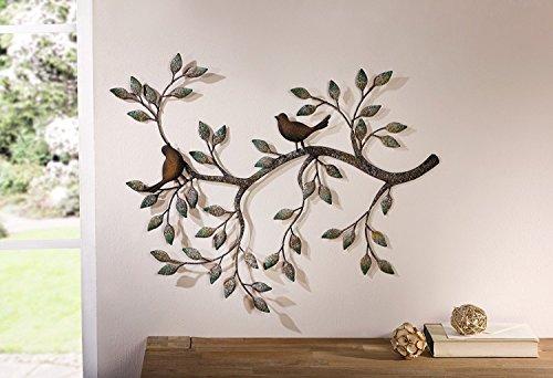 """Wanddeko """"Vogel Ast"""" Wandbild Wandverzierung ausgefallen Metall Deko Blätter Vögel"""