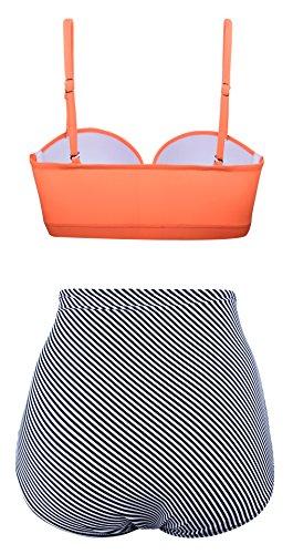 Angerella Damen Retro Stil Polka-Punkt mit hoher Taille Badeanzug Bikini Set - 3
