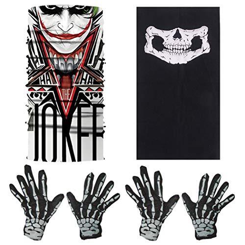 ZOYLINK 2 Paar Halloween Handschuhe Scary Skeleton Kostüm Handschuhe mit 2 Outdoor Gesichtsmasken