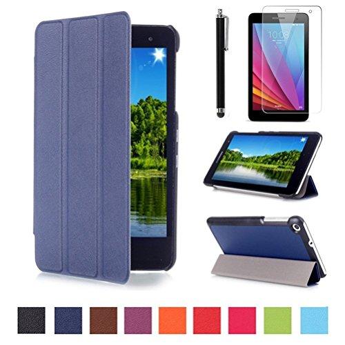 Huawei MediaPad T1 7 Zoll SmartShell Hülle Case Cover Tasche Etui - Ultra Slim Superleicht PU Leder Tasche Smart Case Cover Schutzhülle für Huawei Mediapad T1 7.0 Zoll Tablet + Displayschutzfolien und Stylus,Dunkelblau