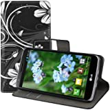 kwmobile Hülle für LG G2 Mini - Wallet Case Handy Schutzhülle Kunstleder - Handycover Klapphülle mit Kartenfach und Ständer Blumen Swirl Design Weiß Schwarz