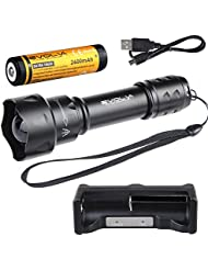 Evolva Future Technology 38mm T20 IR luz infrarroja linterna antorcha lente de visión nocturna por infrarrojos de luz de la linterna - La luz infrarroja es invisible al ojo humano - Para ser utilizado con dispositivos de visión nocturna (antorcha + batería + cargador)