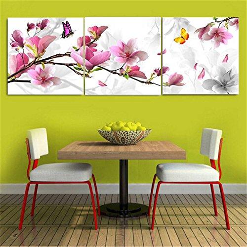 """KING DO WAY Set De 3 Parties """"Fleur Violet Avec Papillon"""" Impressions Sur Toile Murale Image Peinture Décor Maison Bureau Canvas Print Painting (Sans Cadre)-30cmX30cm"""