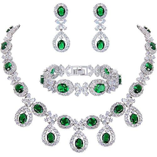 Ever Faith CZ Floral Blätter Wassertropfen Halskette Ohrringe Armband Set Grün Smaragd Farbe Silber-Ton