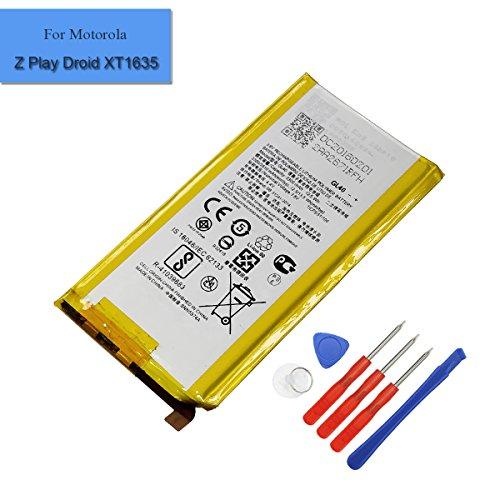 Batteria di ricambio GL40 compatibile con Motorola Moto Z Play Droid XT1635, 3.300 mAh, 3,8 V, batteria interna di ricambio con strument