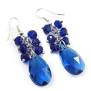 Boucles d'oreille pendant acrylique bleu roi en forme de larme (métal ton argenté) - longueur 5cm