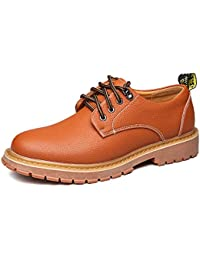 Sunny&Baby Männer Lace Up Loafers Schuhe Breathable Echtes Leder Casual Business Weiche OutSole Wohnungen Oxfords Abriebfeste ( Color : Schwarz , Größe : 45 EU )