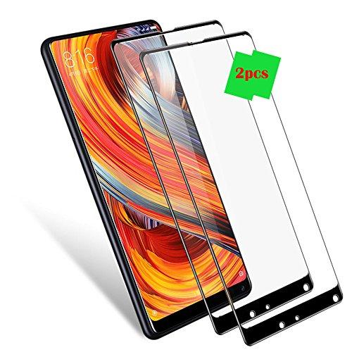 Xiaomi Mi Mix 2s Protector de Pantalla, LAGUI 9H Dureza, Alta Definicion Pegamento Completo Cobertura Completa Cristal Templado Película, [2-Unidades] Protege de Golpes y Arañazos. negro