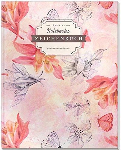 DÉKOKIND Zeichenbuch | DIN A4, 122 Seiten, Register, Vintage Softcover | Dickes Blanko-Notizbuch zum Selbstgestalten | Motiv: Retro Blumen