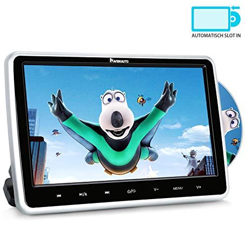 """10,1\"""" Zoll Auto Monitor DVD Player HD Bildschirm mit KFZ Kopfstützenhalterung Slot-in Disc unterstützt SD USB AV IN und Out für Kinder Schwarz NAVISKAUTO MTK1030"""