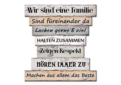 Holzschild Vintage Stil mit Sprüchen, Wir sind eine Familie, Familien Regeln, Family Rules, Leben, Lieben, Lachen, Zuhause, Maße 32 x 30 cm