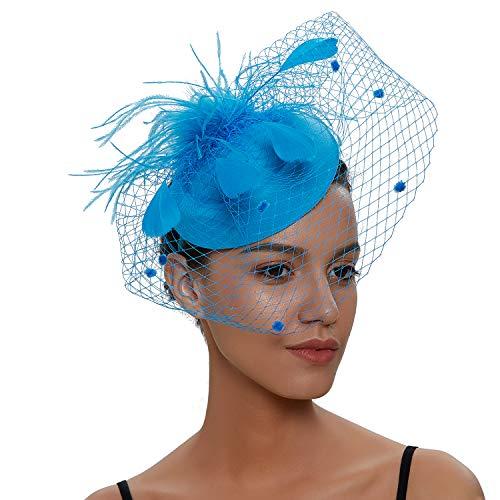 Zivyes Hochzeit Faszinator Hut 50er Jahre Mottoparty Accessories Halloween Kostüme Kopfschmuck (1-Blauer See) (Jahr 1 Halloween-kostüme)