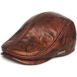 LETHMIK Sombrero de Hombre Con Visera Tapa plana de cuero Texanos Vaqueros Ivy Gorros Tardan Caza conduciendo Boina Hat Brown and black-XXL