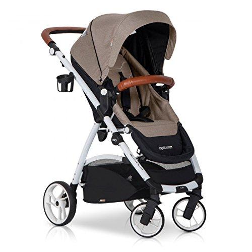easyGO OPTIMO Sand Buggy Kinderwagen Sport Spazierwagen Baby Set – klappbar – Regenhaube – Leder & Aluminium Tech