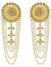 The Luxor Gold Plated Pearls Tassel Bahubali Jhumki Earrings For Women And Girls (ER-1774)