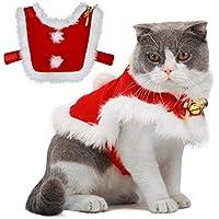 Legendog Katzen Kleidung, Weihnachten Haustier Kleidung, Weihnachten Katzen Kleidung, Katzenkostüm, Nette Justierbare Weihnachtsmann Kleidung für Kätzchen, Haustier Hoodie Mantel für Katzen (2#)