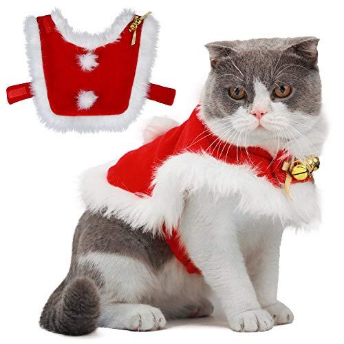 Legendog Costume Natale Gatto Gatto Babbo Natale Regolabile Santa Pet Cape Gatto Santa Vestiti con Campane Xmas Outfit per Cani e Gattino Dolce