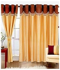 Super India Plain 3 Piece Polyester Window Curtain Set - 5ft, Gold