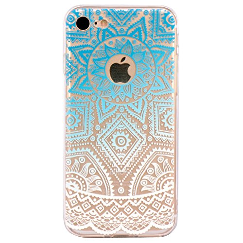 iPhone 5 Case, Walmark Beautiful Clear TPU Soft Case Rubber Silicone Skin Cover for iPhone 5 inch - Blue White Tribal Henna