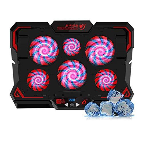 DokFin Laptop Cooling Pad, Laptop Cooler Fan Base Einstellbare, leistungsstarke, tragbare Standfußhalterung Riser mit 6 leisen LED-Lichtventilatoren und Touchscreen für Spiele bis zu 17 Zoll