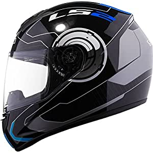LS2 FF350 Atmos Full Face Helmet with Mercury Visor (Black and Blue, L)