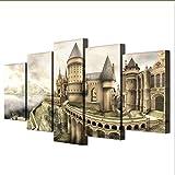 gwgdjk Inchiostro Originale Pittura A Olio Originale Stampa su Tela Stampa Vecchio Castello Pittura su Tela Wall Art Picture Home Decor-40X60/80/100Cm,Without Frame