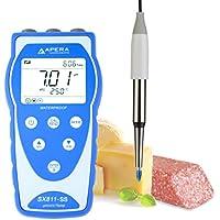 Apera instrumentos ai452Medidor portátil de pH, sx811-ss, para alimentos y los productos lácteos, equipado con Swiss Lansen Spear Sonda de acero inoxidable para alimentos, anti-contamination