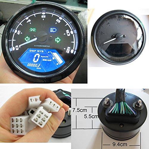 Compteur de vitesse LCD Goldenapplestore - Jusqu'à 199 km/h - LCD numérique - 12000 tr/minute - Pour moto, scooteur, etc