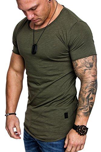 Amaci&Sons Oversize Herren Vintage T-Shirt Verwaschen Crew Neck Rundhals Basic Shirt 6005 Khaki L
