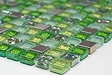 Mosaik-Netzwerk Quadrat Crystal/Stahl mix grün Glasmosaik Transluzent Transparent 3D, Mosaikstein Format: 15x15x8 mm, Bogengröße: 60 x 100 mm, 1 Handmuster ca. 6x10 cm